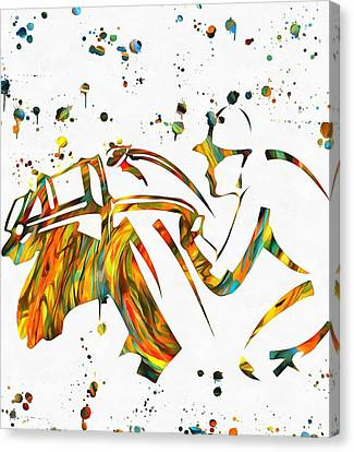 Horse Jockey Paint Splatter Canvas Print by Dan Sproul