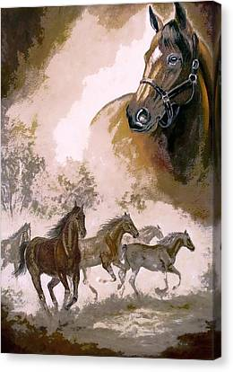 Horse Painting A Dream Of Running Wild Canvas Print by Regina Femrite