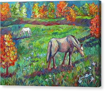 Horse Pasture Canvas Print by Kendall Kessler