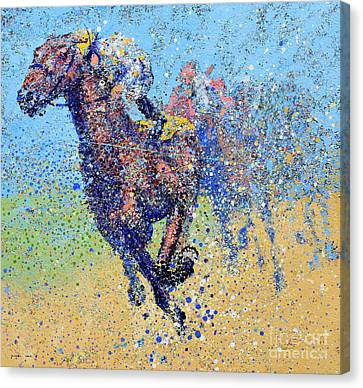 Horse Race On Blue Canvas Print by Michael Glass
