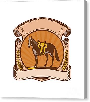 Horse Western Saddle Scroll Woodcut Canvas Print by Aloysius Patrimonio