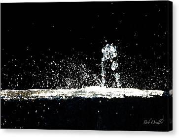 Horses And Men In Rain Canvas Print by Bob Orsillo