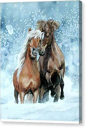Horses In Winter Canvas Print by Virginia Sonntag