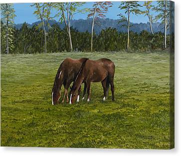 Horses Of Romance Canvas Print by Mary Ann King