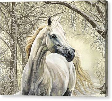 Horses Of The Four Seasons - Winter Canvas Print by Kim McElroy