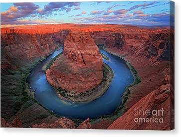 Colorado River Canvas Print featuring the photograph Horseshoe Bend Sunrise by Inge Johnsson