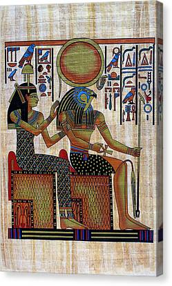Horus And Hathor Canvas Print by Bernice Williams