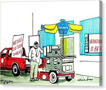 Hot Dog Guy Of Asbury Park Canvas Print by Patricia Arroyo