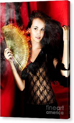 Hot Female Fire Dancer Canvas Print by Jorgo Photography - Wall Art Gallery