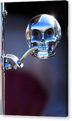 Hot Rod Skull Rear View Mirror Canvas Print by Jill Reger