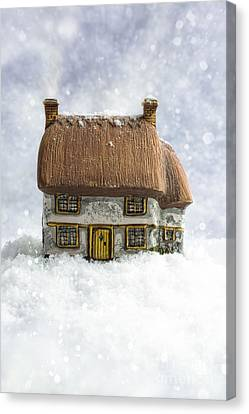 House In Snow Canvas Print by Amanda Elwell