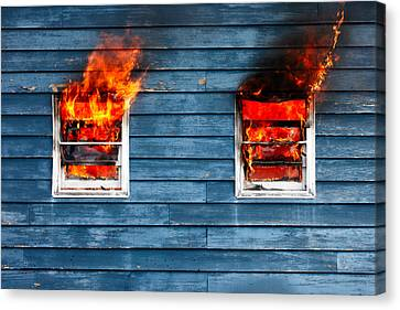 House On Fire Canvas Print by Todd Klassy