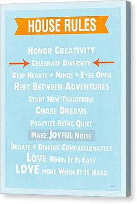 House Rules-contemporary Canvas Print by Linda Woods