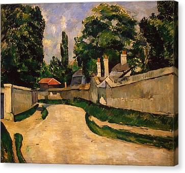 Houses Along A Road Canvas Print by Paul Cezanne