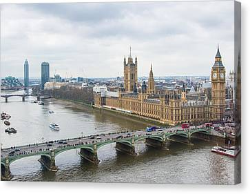 Houses Of Parliament And The Westminster Bridge As Seen From The London Eye Canvas Print by AMB Fine Art Photography
