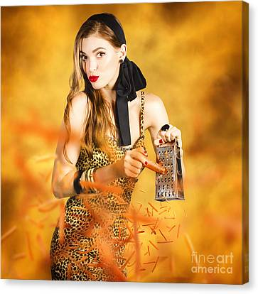 Housewife Grating Carrots Canvas Print by Jorgo Photography - Wall Art Gallery