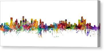 Houston Detroit Skylines Mashup Canvas Print by Michael Tompsett