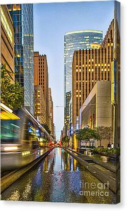 Houston Metro Rail In A Blur Canvas Print by Tod and Cynthia Grubbs
