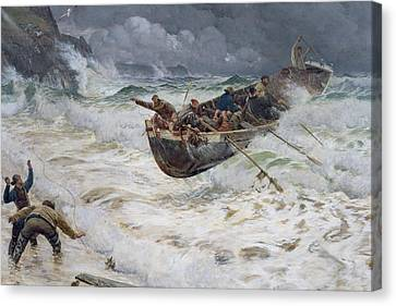 How The Boat Came Home Canvas Print by  Charles Napier Hemy