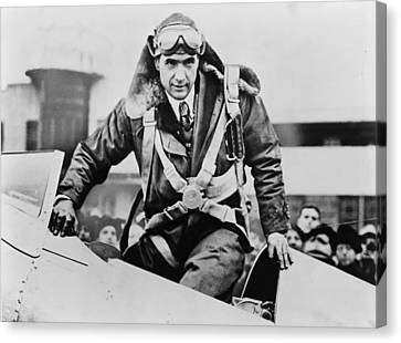 Howard Hughes Emerging From An Airplane Canvas Print by Everett