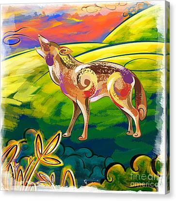 Howling Coyote  Canvas Print by Bedros Awak