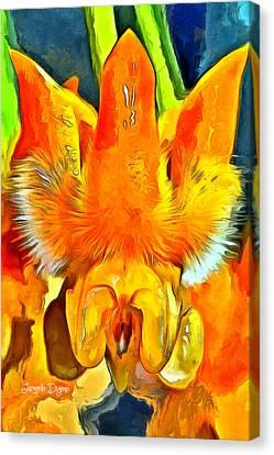 Hoya Lasiantha Flower - Da Canvas Print by Leonardo Digenio