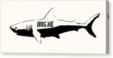 Hug Me Shark - Black  Canvas Print by Pixel  Chimp