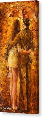 Hug Under The Rain - Palette Knife Oil Painting On Canvas By Leonid Afremov Canvas Print by Leonid Afremov