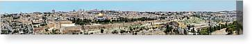 Huge Panoramic View Of The Temple Mount From The Olive Mount Canvas Print by Yoel Koskas