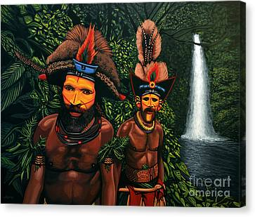 Huli Men In The Jungle Of Papua New Guinea Canvas Print by Paul Meijering