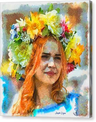 Human Flower - Da Canvas Print by Leonardo Digenio