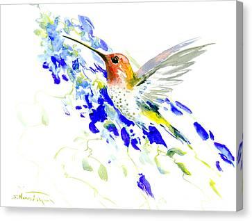 Hummingbird And Blue Flowers Canvas Print by Suren Nersisyan