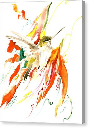 Hummingbird And Flame Colored Flowers Canvas Print by Suren Nersisyan