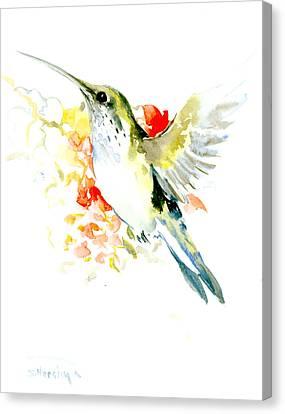 Hummingbird And Flowers Canvas Print by Suren Nersisyan