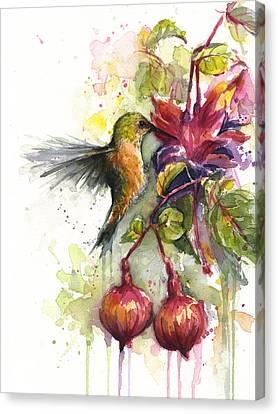 Hummingbird And Fuchsia Canvas Print by Olga Shvartsur