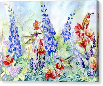 Hummingbird Garden In Spring Canvas Print by Audrey Jeanne Roberts