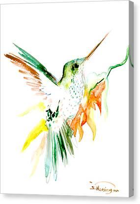 Hummingbird Green Orange Red Canvas Print by Suren Nersisyan