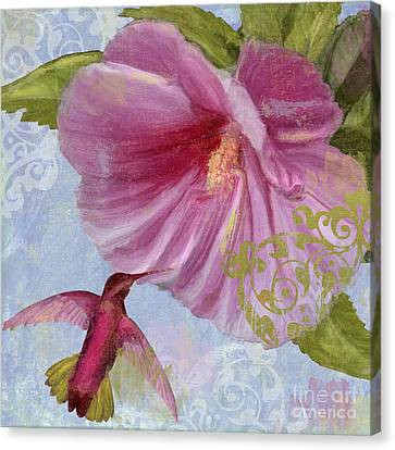 Hummingbird Hibiscus I Canvas Print by Mindy Sommers