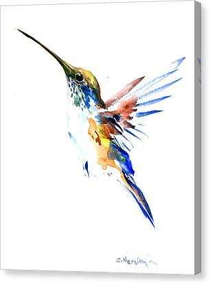 Hummingbird Olive Green, Blue Canvas Print by Suren Nersisyan