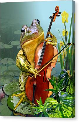 Humorous Scene Frog Playing Cello In Lily Pond Canvas Print by Gina Femrite