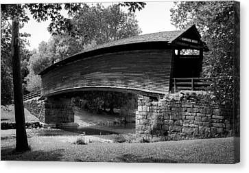 Humpback Bridge In Black And White Canvas Print by Karen Wiles