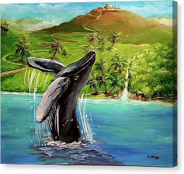 Humpback Whale Breaching At Haleakala Hawaii Canvas Print by Bernadette Krupa