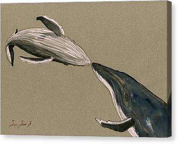 Humpback Whale Painting Canvas Print by Juan  Bosco
