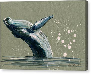 Humpback Whale Swimming Canvas Print by Juan  Bosco