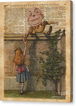 Humpty Dumpty Alice In Wonderland Vintage Dictionary Art Canvas Print by Jacob Kuch