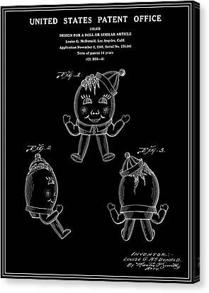 Humpty Dumpty Patent - Black Canvas Print by Finlay McNevin