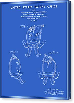Humpty Dumpty Patent - Blueprint Canvas Print by Finlay McNevin