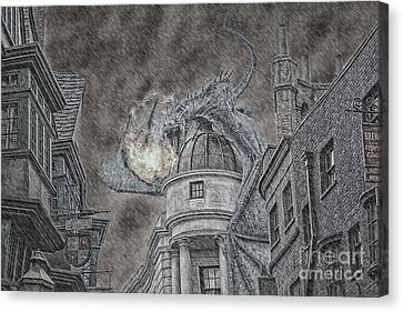 Hungarian Horntail In Blue Canvas Print by Emily Kay