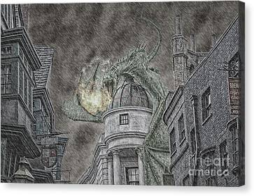 Hungarian Horntail In Green Canvas Print by Emily Kay