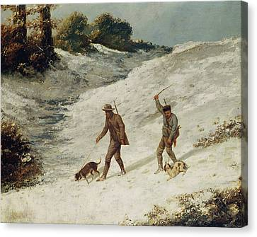 Hunters In The Snow Or The Poachers Canvas Print by Gustave Courbet